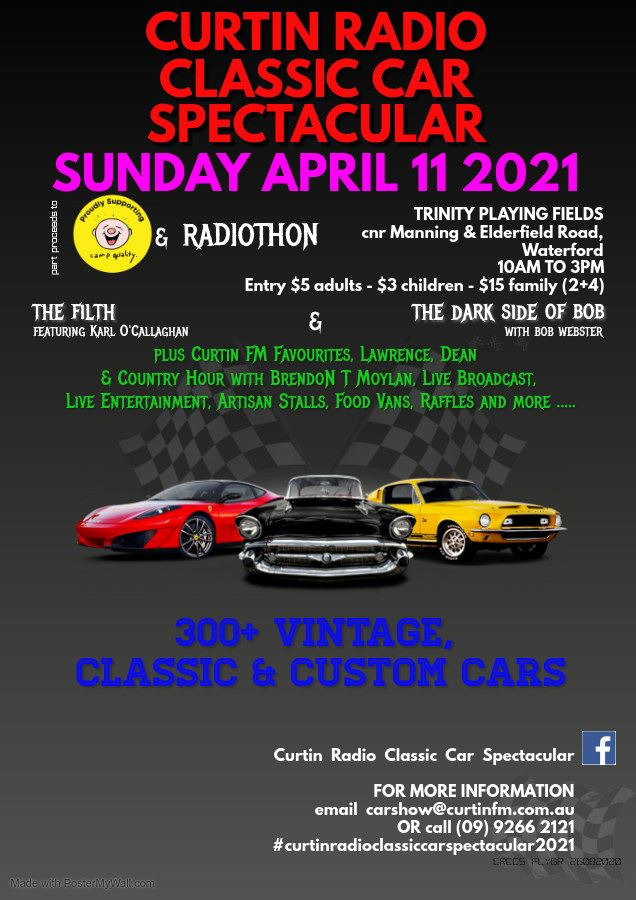 Flyer for Curtin Radio Classic Car Spectacular, to be held on Sunday Aprill 11 2021 at Trinity Playing Fields, Waterford.